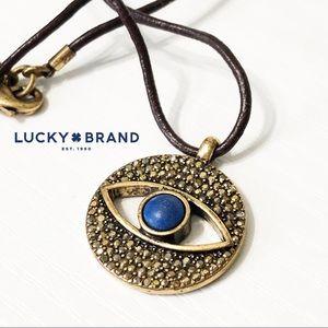 Lucky Brand | Leather & Crystal Pave Eye Necklace